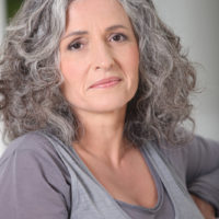 Portrait of relaxed gray-haired woman